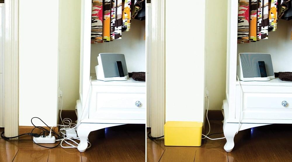 CableBox από τη Bluelounge για την απόκρυψη καλωδίων στο χώρο κίτρινο geekers.gr