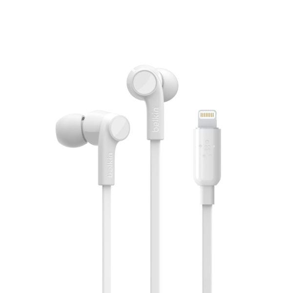 belkin ακουστικά με υποδοχή lightning χρώμα λευκό